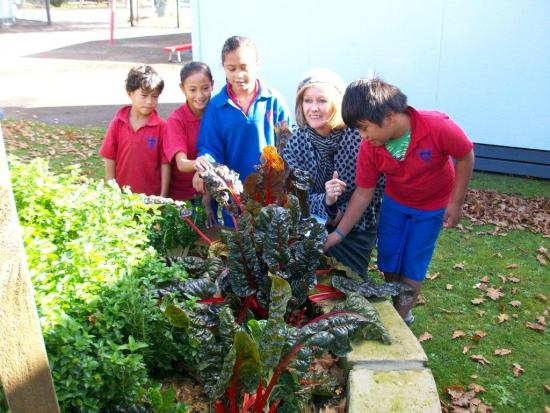 Sue Kedgley with some children who grow food at school.