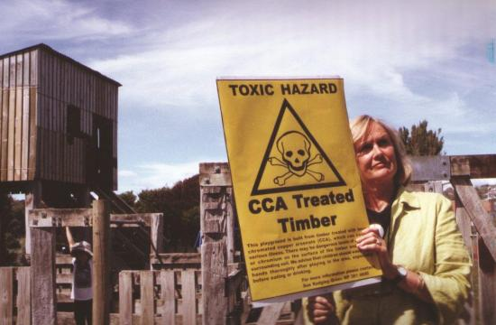 Sue protests against the use of treated timber for childrens' playgrounds